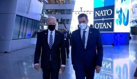 US President Joe Biden along with Spanish Prime Minister Pedro Sanchez.